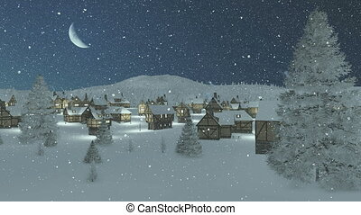 Snowy town at snowfall night