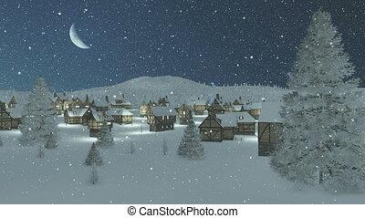 Snowy town at snowfall night