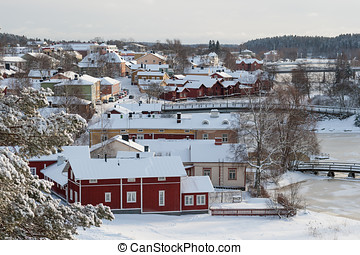 Snowy Town - City of Porvoo in Finland in winter time