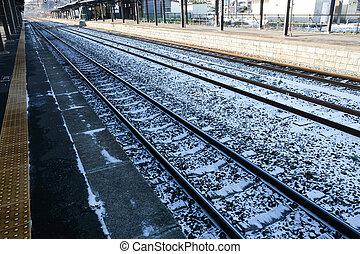 Snowy train station in winter