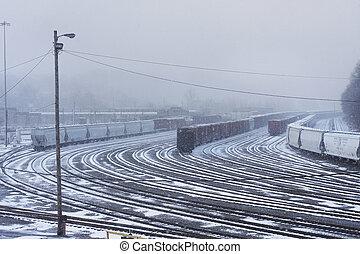 Snowy Train Yard - Snow covered train tracks.