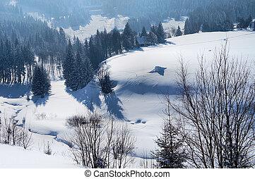 Snowy valley in the Czech Republic