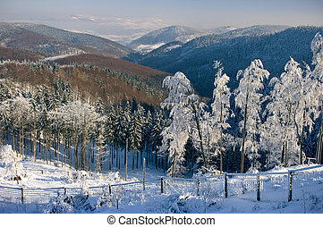 Snowy view on the valley