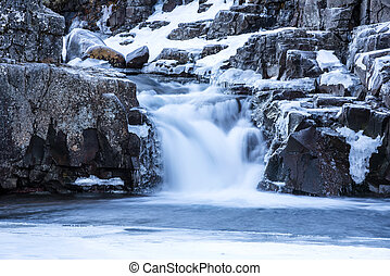 Snowy waterfall in Iceland's highlands