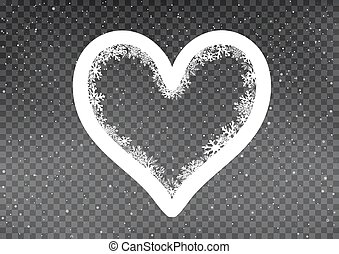 snowy white heart frame template