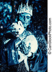 snowy white wolf - The King zombie warrior in the armor of a...