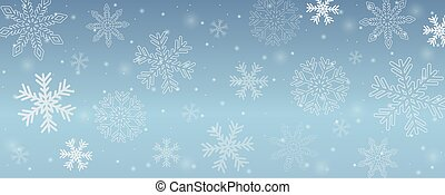 snowy winter background snowflakes in blue sky