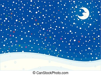 Snowy winter background with a moon
