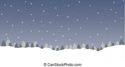 snowy winter background with forest landscape