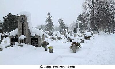 Snowy winter Cemetery