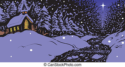 Vector illustration of a snowy winter evening featuring a church with lit windows near a creek or stream with a single star in the sky.