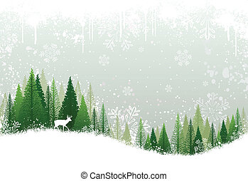 Snowy winter forest background - Green and white winter ...