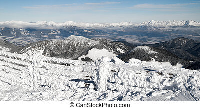 Snowy winter hills in High Tatras from Low Tatras mountains, Slovakia
