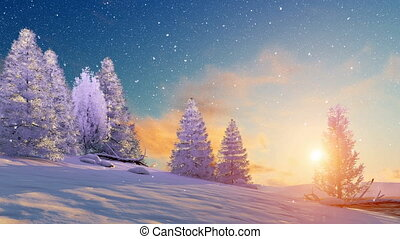 Fir tree forest covered with snow and slight snowfall under scenic sunset or sunrise sky. Winter landscape 3D animation rendered in 4K