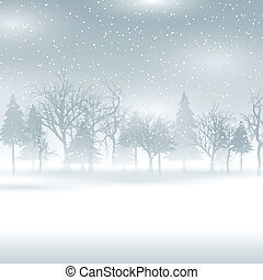 Snowy winter landscape - Christmas background with a snowy...