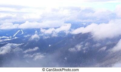 Snowy winter landscape mountain - Misty river in winter....