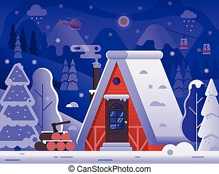 Snowy Winter Log House in Forest Landscape