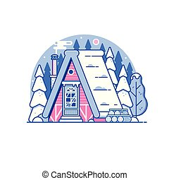Snowy Winter Log House in Forest