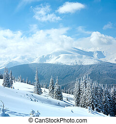 Winter rime and snow covered landscape with Goverla Mount view (Carpathian Mountains, Ukraine). Two shots stitch image.