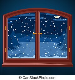 Snowy winter outdoor view in wooden window at night, winter landscape with spruce trees through night window, countryside home or cottage illustration