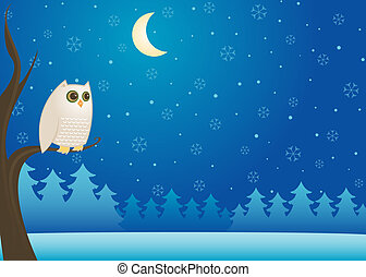 Snowy Winter Owl - White owl perched on a branch in the cold...