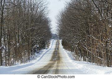 Snowy Winter Rural Highway