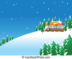 Snowy winter scene in the countrysi
