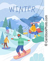 Snowy winter scene with people skiing
