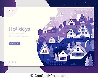 Snowy Winter Village Landing Page