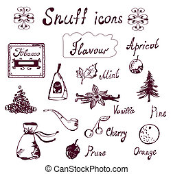 Snuff and tabacco icons set - hand drawn design
