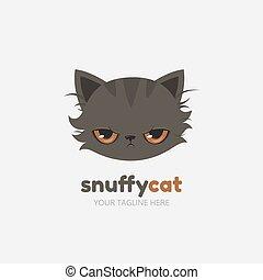 Snuffy cat logo template. Vector.