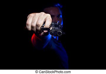 snut, eller, brottsling, holdingen, a, gevär
