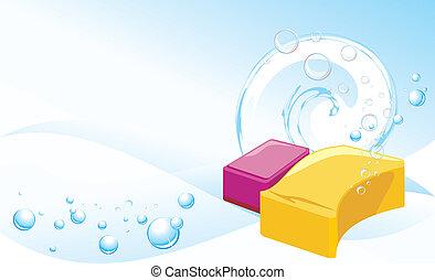 snyltar, med, bubbles., bakgrund