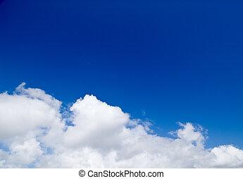 soñador, verano, cielo, con, nubes