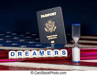 soñadores, concepto, utilizar, ortografía, cartas, y, reloj...