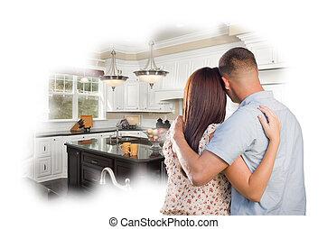 soñar despierto, joven, militar, pareja, encima, costumbre, cocina, foto, tú