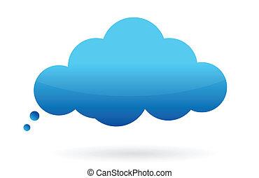 soñar, o, pensamiento, nube