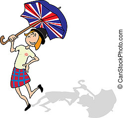 English girl is dancing with a british umbrella