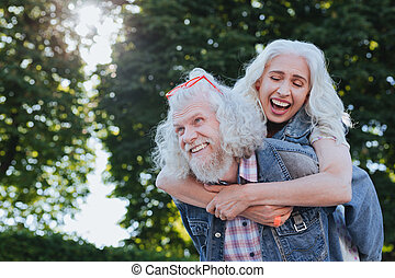Cheerful nice woman smiling