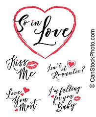 So in Love Vector Typography Romance Lettering Set