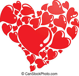 So much love - Heart composed of many hearts