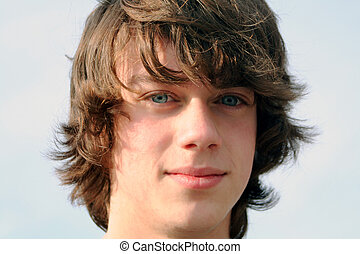 So Serious - Closeup portrait of a teenage boy.