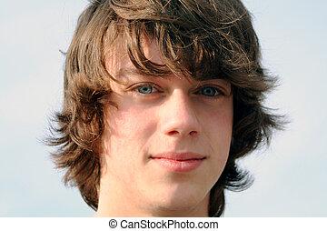 So Serious - Closeup portrait of a teenage boy.