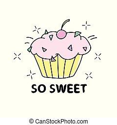 Sweet cupcake illustration design - Textile graphic print -...