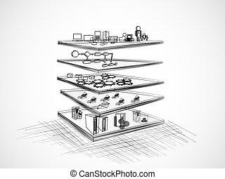 soa, überlagert, architektur