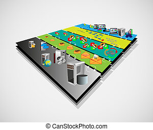 SOA Layer Architecture 3D View - Vector Illustration of...