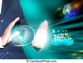 SOA Layered Architecture - virtual image of a business man...