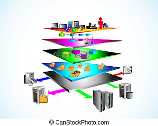 SOA Layered Architecture - Vector Illustration of Service...