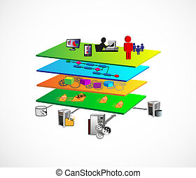 SOA Layered Architecture - Vector Illustration of Service ...