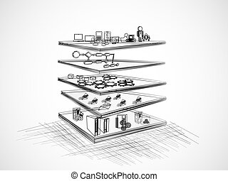 SOA Layered Architecture - Vector Illustration of SOA with ...